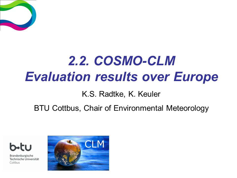 2.2. COSMO-CLM Evaluation results over Europe K.S.