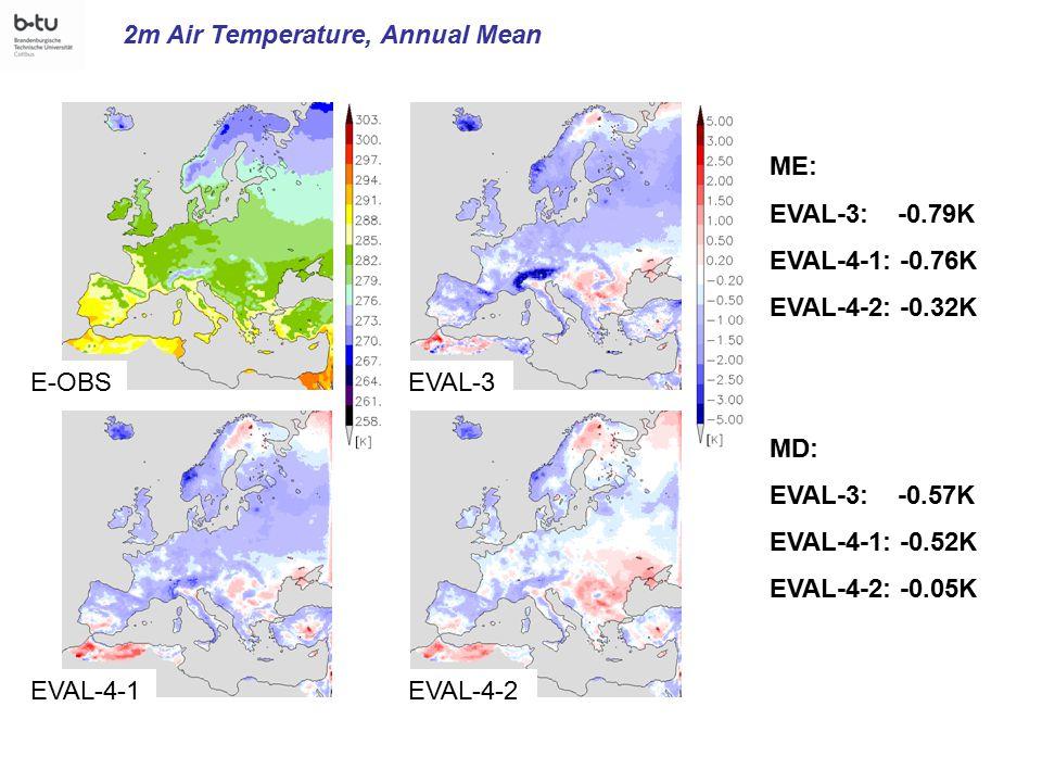 EVAL-3 EVAL-4-1 E-OBS EVAL-4-2 2m Air Temperature, Annual Mean ME: EVAL-3: -0.79K EVAL-4-1: -0.76K EVAL-4-2: -0.32K MD: EVAL-3: -0.57K EVAL-4-1: -0.52K EVAL-4-2: -0.05K