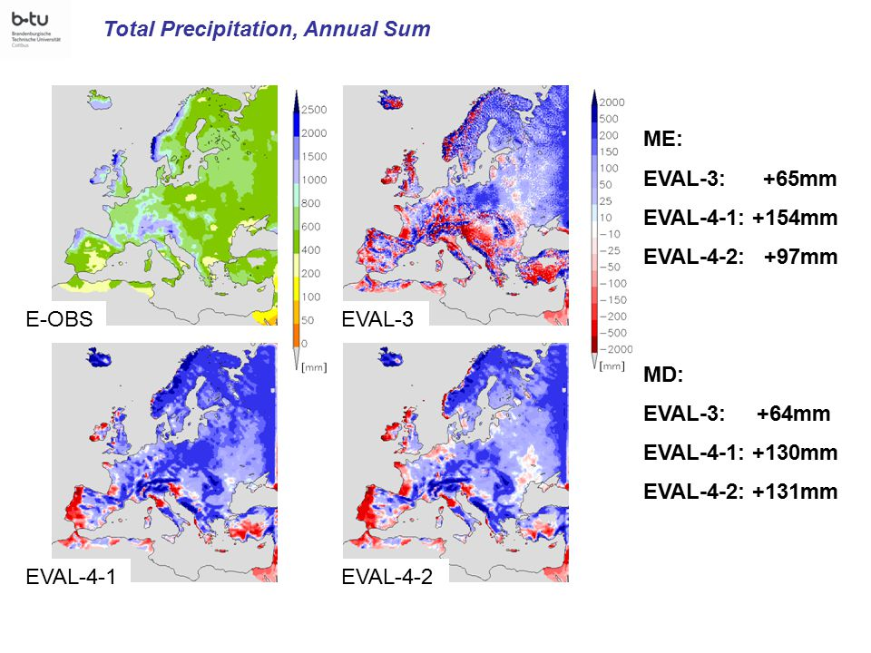 Total Precipitation, Annual Sum E-OBSEVAL-3 EVAL-4-1EVAL-4-2 ME: EVAL-3: +65mm EVAL-4-1: +154mm EVAL-4-2: +97mm MD: EVAL-3: +64mm EVAL-4-1: +130mm EVAL-4-2: +131mm