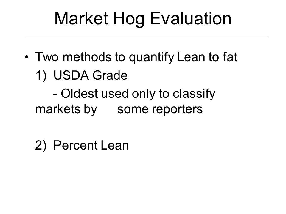 Market Hog Evaluation USDA Yield Grade –Last rib back fat –Muscle score (1, 2, 3) (4 x last rib fat) – muscle score