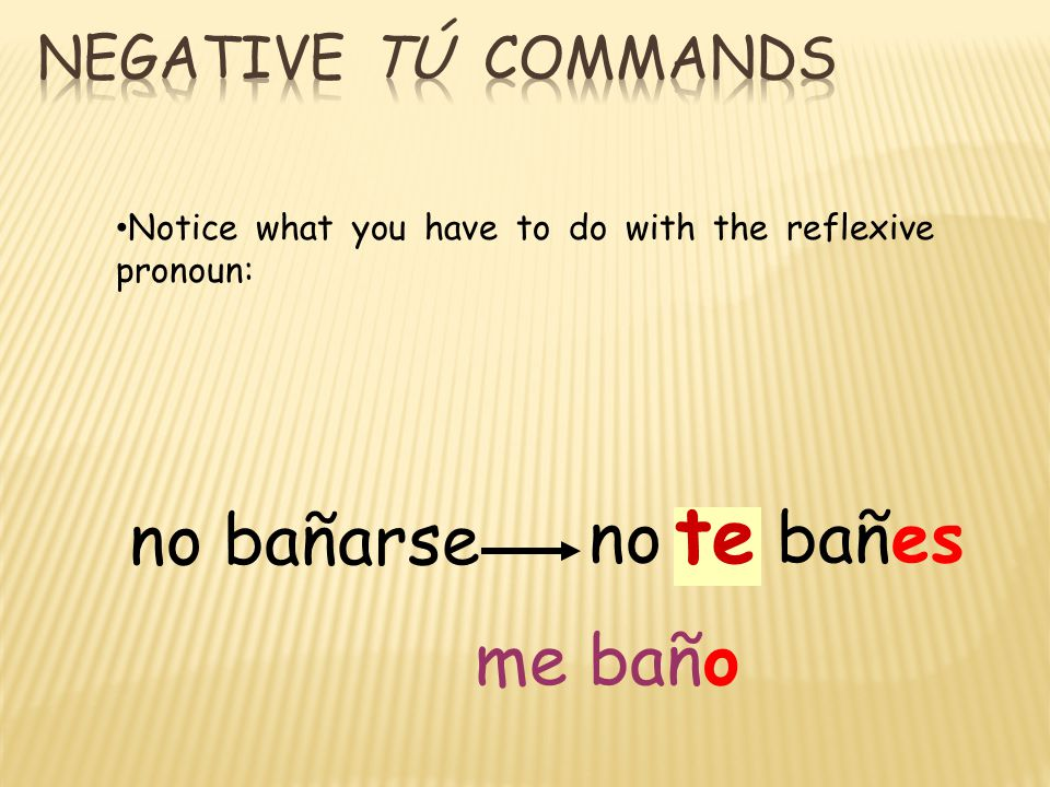 no bañarse no se bañes te Notice what you have to do with the reflexive pronoun: me baño