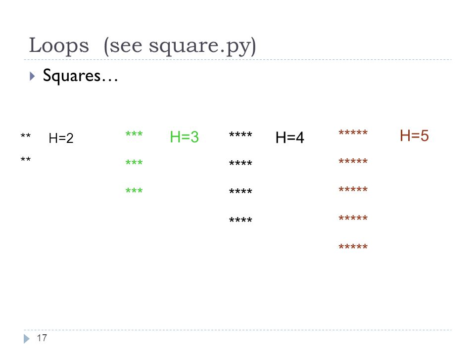 17 Loops (see square.py)  Squares… *** H=3 *** **** H=4 **** ***** H=5 ***** ** H=2 **