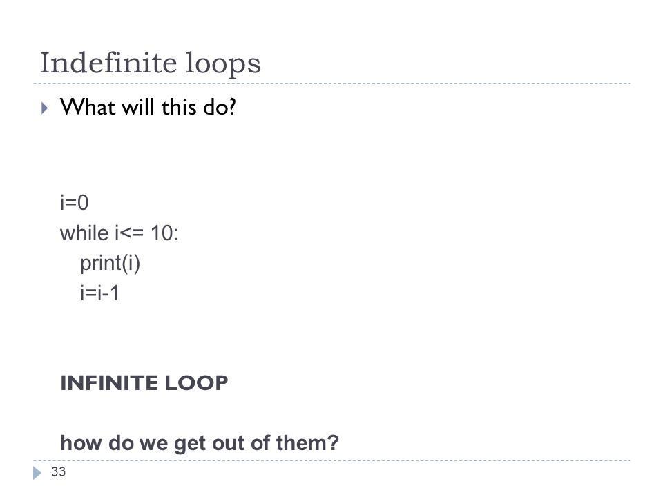 Indefinite loops  What will this do.