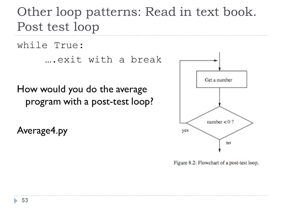 Other loop patterns: Read in text book.
