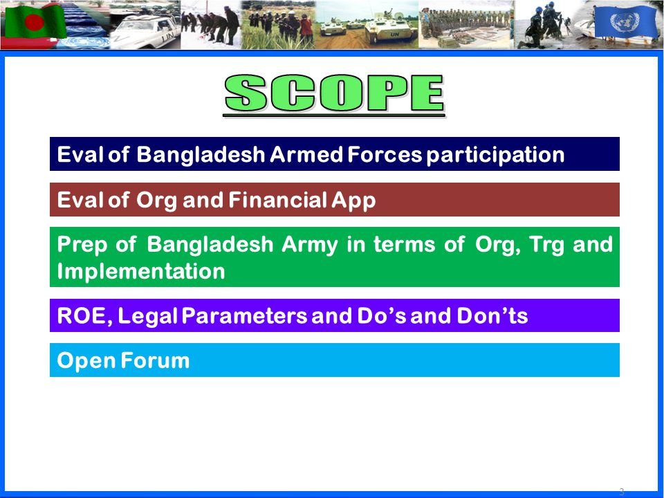 3 Eval of Org and Financial App Eval of Bangladesh Armed Forces participation ROE, Legal Parameters and Do's and Don'ts Prep of Bangladesh Army in terms of Org, Trg and Implementation Open Forum 3