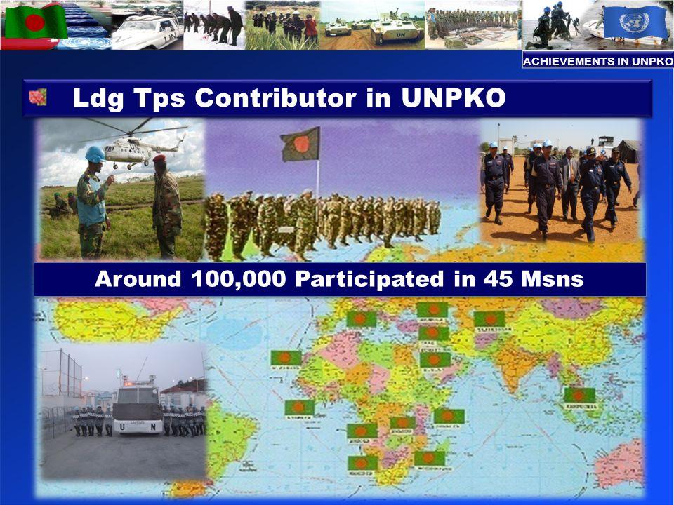 Around 100,000 Participated in 45 Msns Ldg Tps Contributor in UNPKO 6