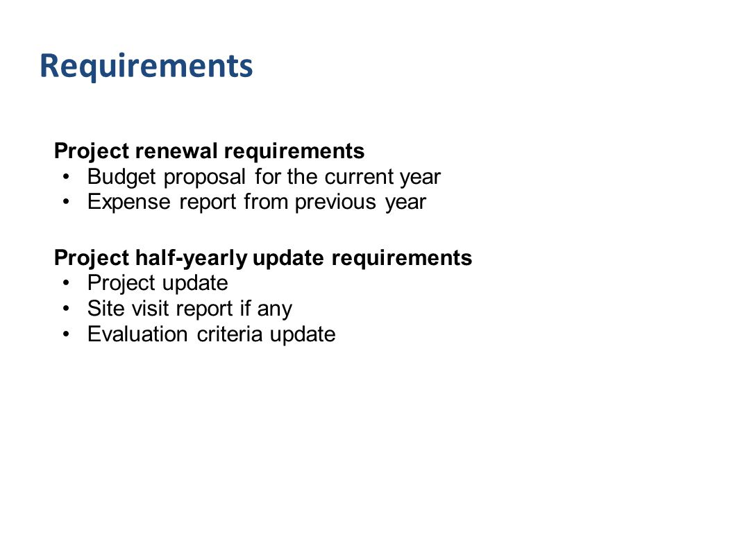 Project renewal requirements Budget proposal for the current year Expense report from previous year Project half-yearly update requirements Project up