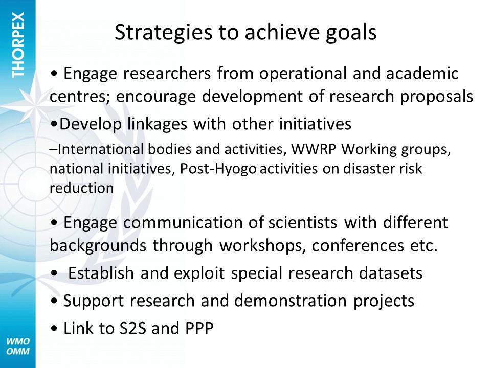 Strategies to achieve goals Engage researchers from operational and academic centres; encourage development of research proposals Develop linkages with other initiatives –International bodies and activities, WWRP Working groups, national initiatives, Post-Hyogo activities on disaster risk reduction Engage communication of scientists with different backgrounds through workshops, conferences etc.
