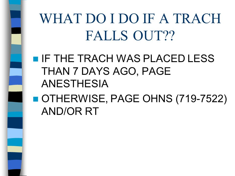 WHAT DO I DO IF A TRACH FALLS OUT .