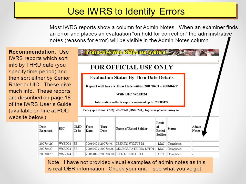 Use IWRS to Identify Errors Most IWRS reports show a column for Admin Notes.