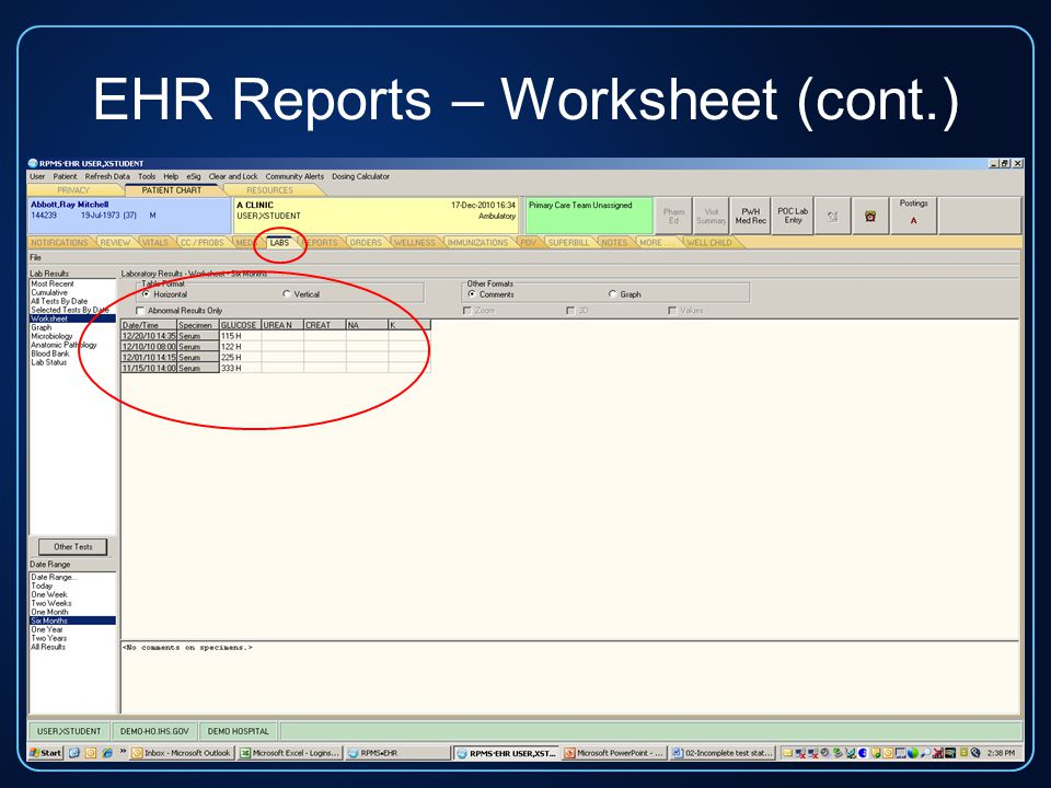 EHR Reports – Worksheet (cont.)