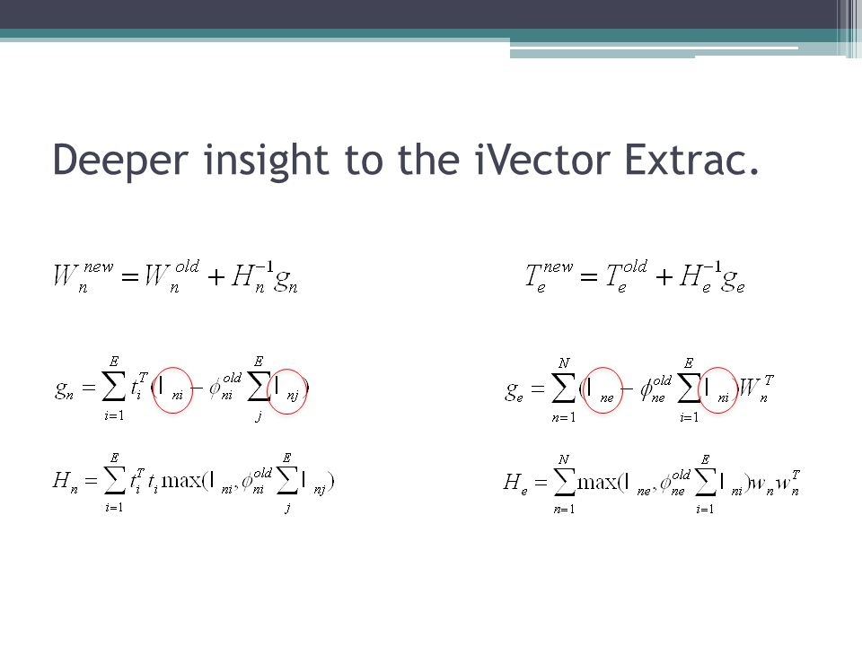 Deeper insight to the iVector Extrac.