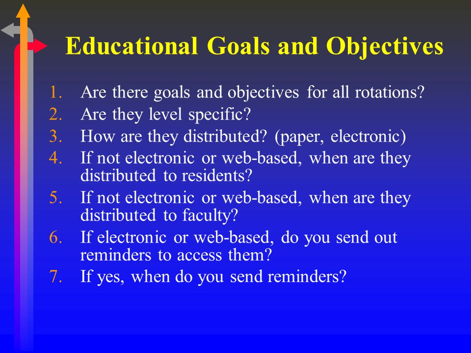 Educational Goals and Objectives 1.Are there goals and objectives for all rotations.