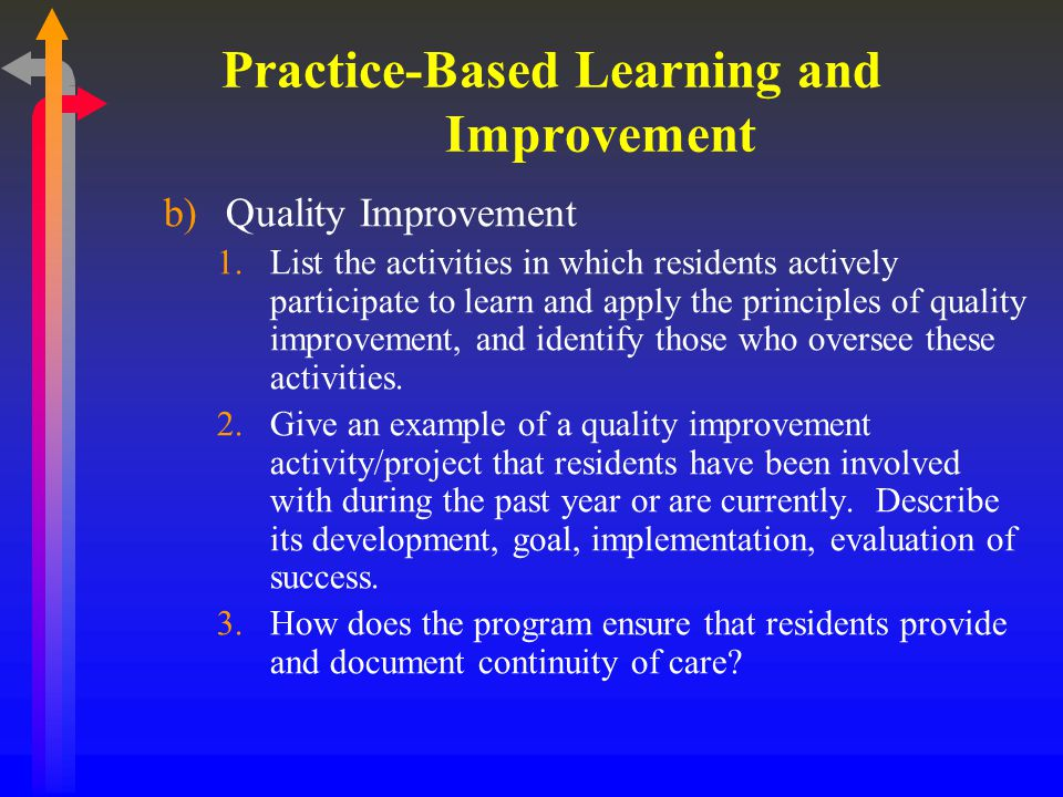 Practice-Based Learning and Improvement c)Teaching Skills 1.Describe how residents learn teaching skills.