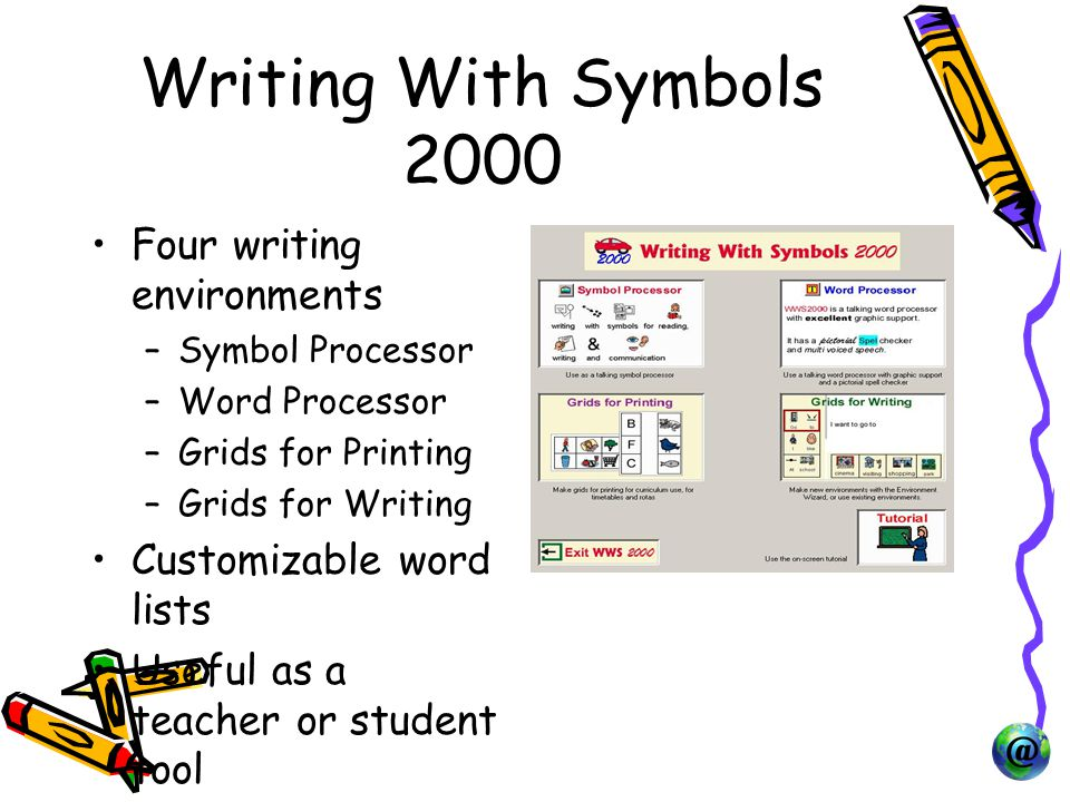 Writing With Symbols 2000 Four writing environments –Symbol Processor –Word Processor –Grids for Printing –Grids for Writing Customizable word lists Useful as a teacher or student tool