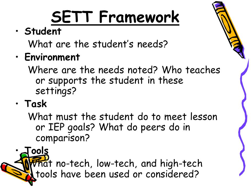 SETT Framework Student What are the student's needs.