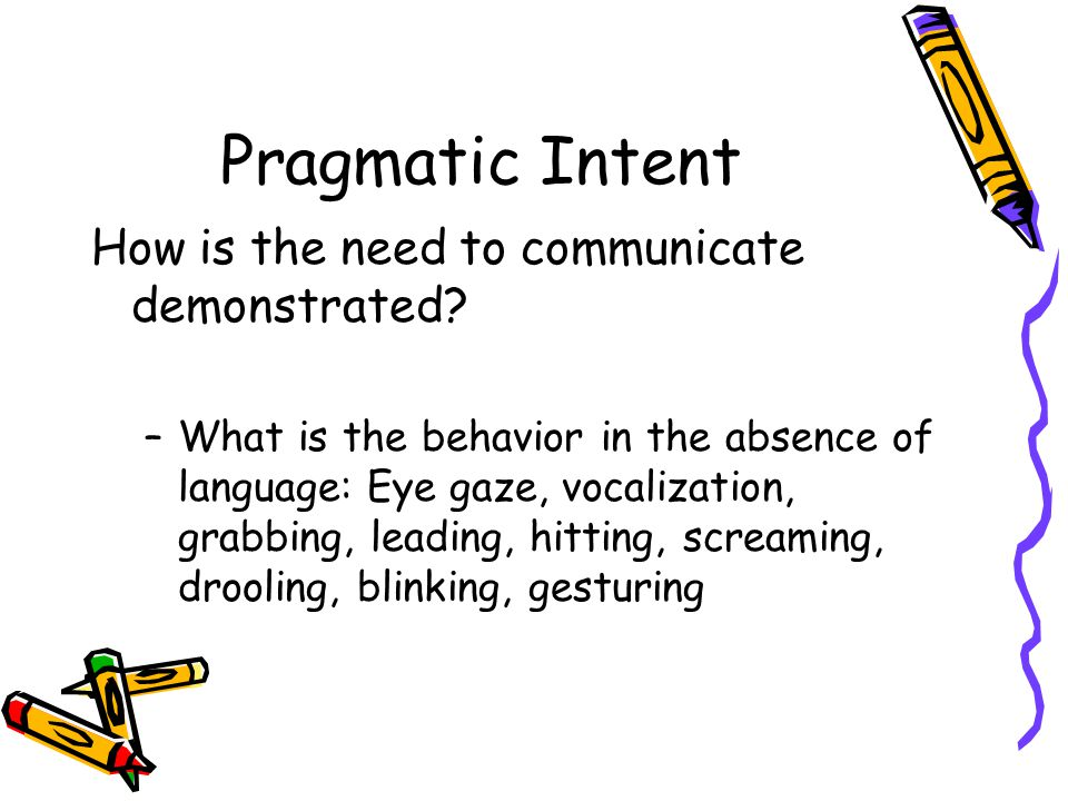 Pragmatic Intent How is the need to communicate demonstrated.