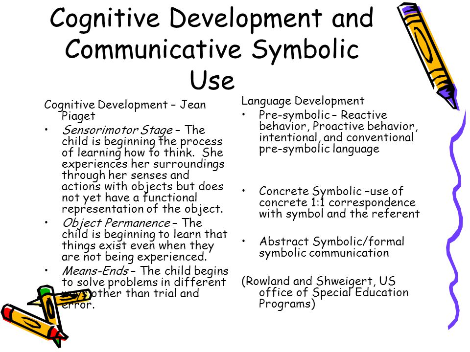 Cognitive Development and Communicative Symbolic Use Cognitive Development – Jean Piaget Sensorimotor Stage – The child is beginning the process of learning how to think.