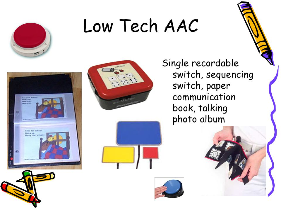 Low Tech AAC Single recordable switch, sequencing switch, paper communication book, talking photo album