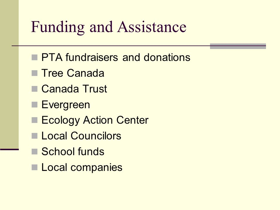 Funding and Assistance PTA fundraisers and donations Tree Canada Canada Trust Evergreen Ecology Action Center Local Councilors School funds Local companies