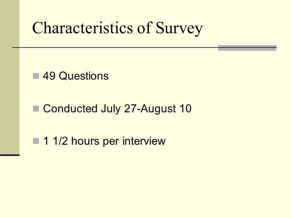 Characteristics of Survey 49 Questions Conducted July 27-August 10 1 1/2 hours per interview