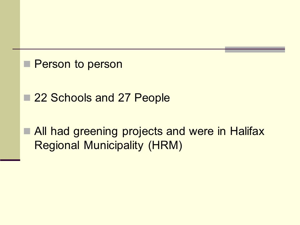 Person to person 22 Schools and 27 People All had greening projects and were in Halifax Regional Municipality (HRM)