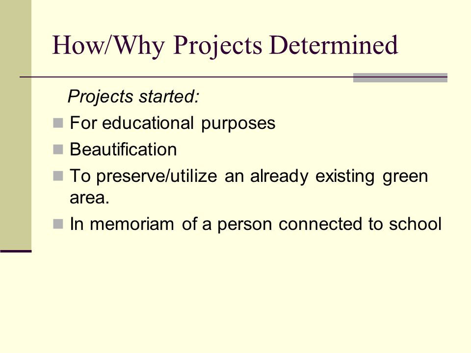 Schools chose specific projects by: Consulting with students, teachers, and their Parent-Teacher Association Through surveys, garden clubs, newsletters, and work shops Projects were an average of 4 to 5 years The oldest 11 years old The youngest 1 year old.