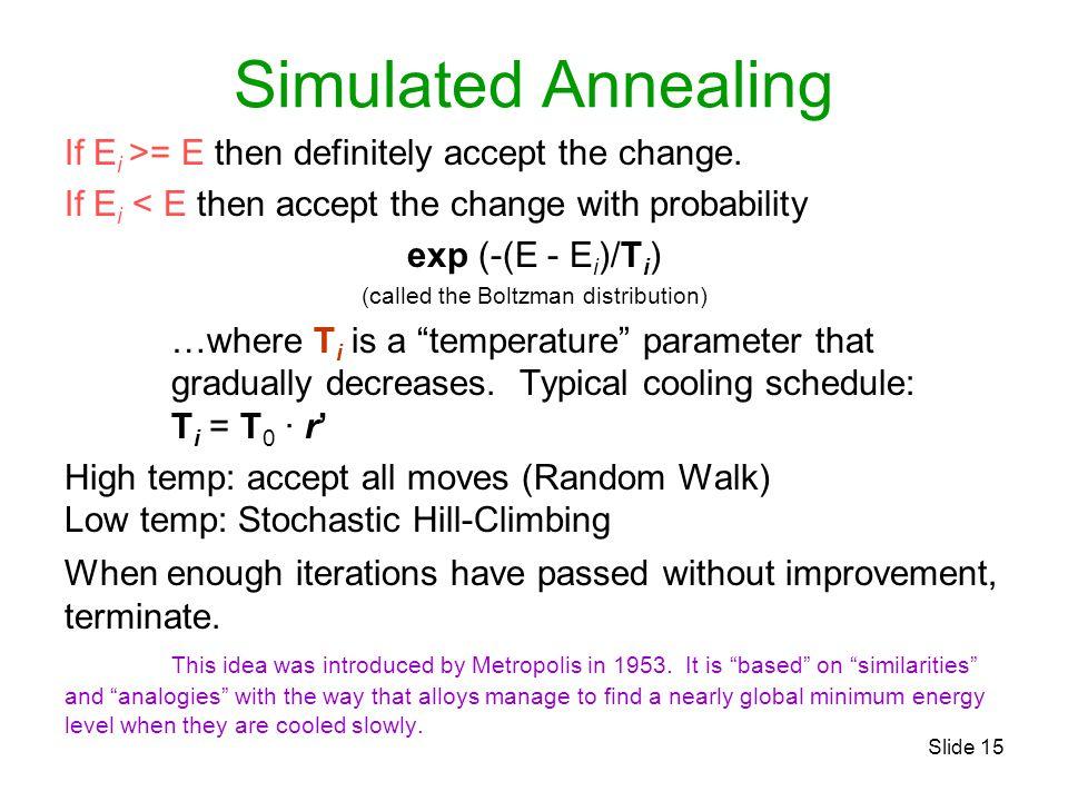 Slide 15 Simulated Annealing If E i >= E then definitely accept the change. If E i < E then accept the change with probability exp (-(E - E i )/T i )