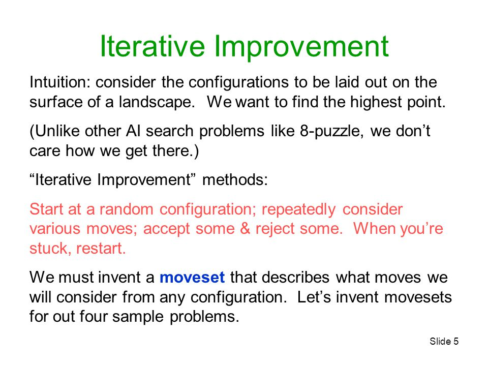 Slide 5 Iterative Improvement Intuition: consider the configurations to be laid out on the surface of a landscape.