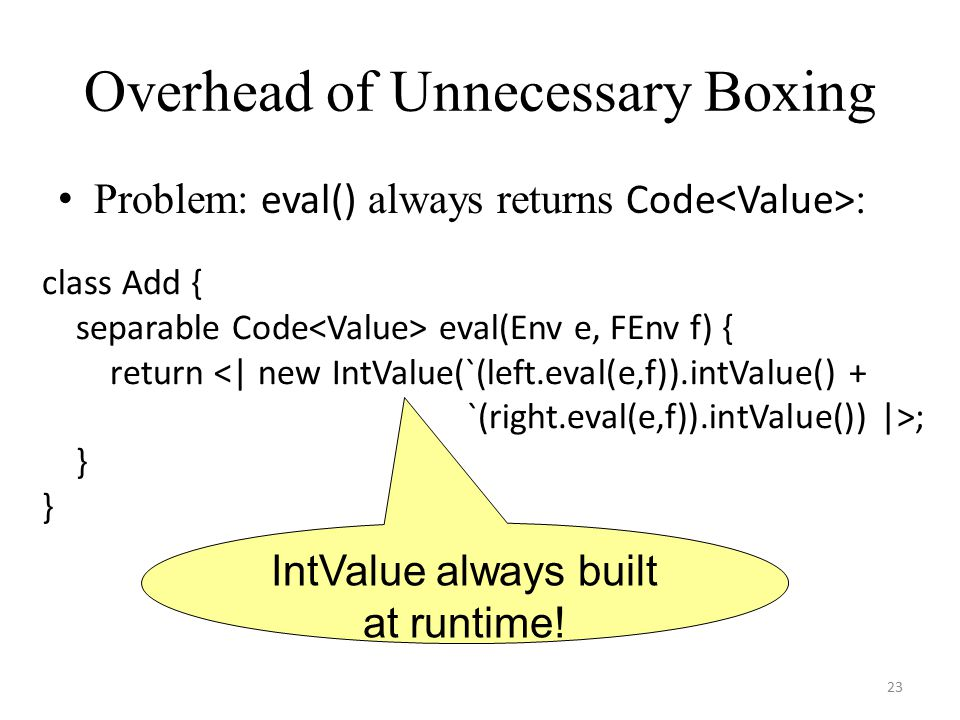 Overhead of Unnecessary Boxing Problem: eval() always returns Code : class Add { separable Code eval(Env e, FEnv f) { return <| new IntValue(`(left.ev