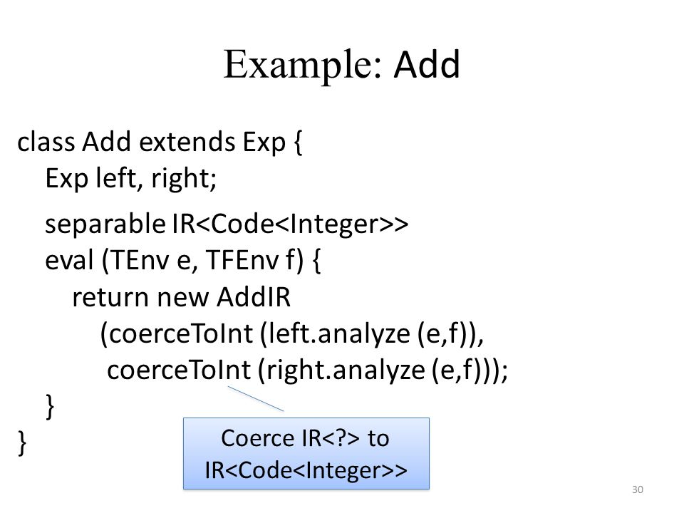 Example: Add 30 class Add extends Exp { Exp left, right; separable IR > eval (TEnv e, TFEnv f) { return new AddIR (coerceToInt (left.analyze (e,f)), c