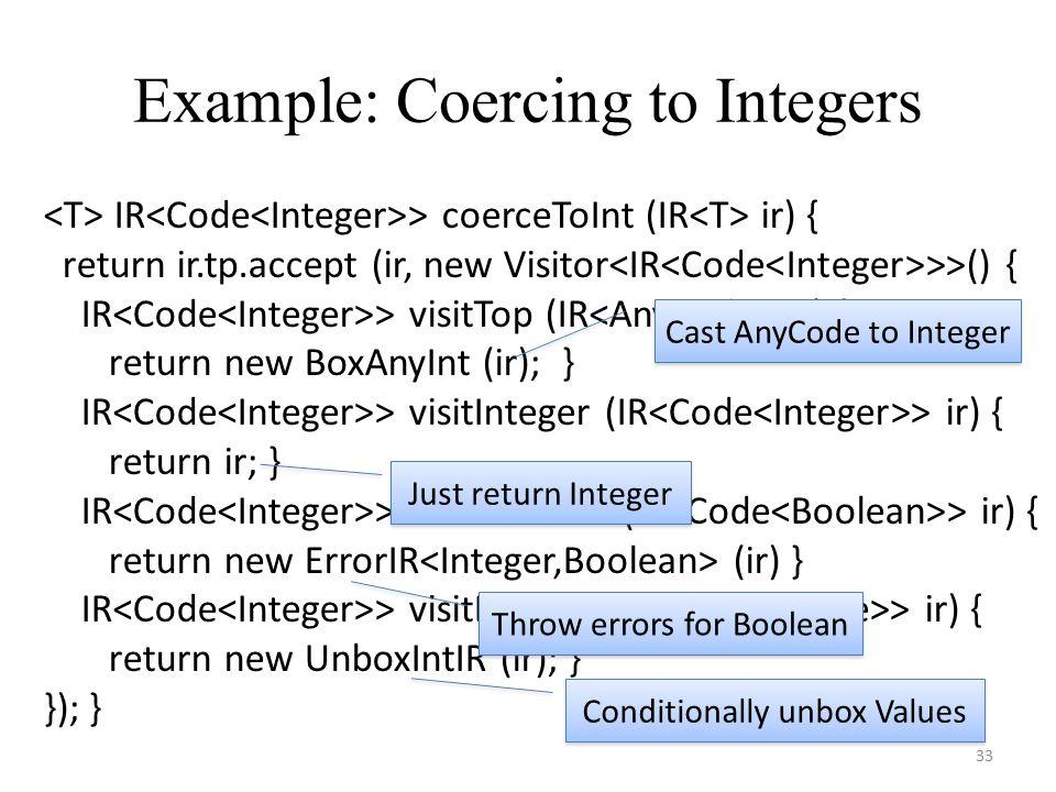 IR > coerceToInt (IR ir) { return ir.tp.accept (ir, new Visitor >>() { IR > visitTop (IR ir) { return new BoxAnyInt (ir); } IR > visitInteger (IR > ir) { return ir; } IR > visitBoolean (IR > ir) { return new ErrorIR (ir) } IR > visitBottom (IR > ir) { return new UnboxIntIR (ir); } }); } Example: Coercing to Integers 33 Cast AnyCode to Integer Just return Integer Throw errors for Boolean Conditionally unbox Values