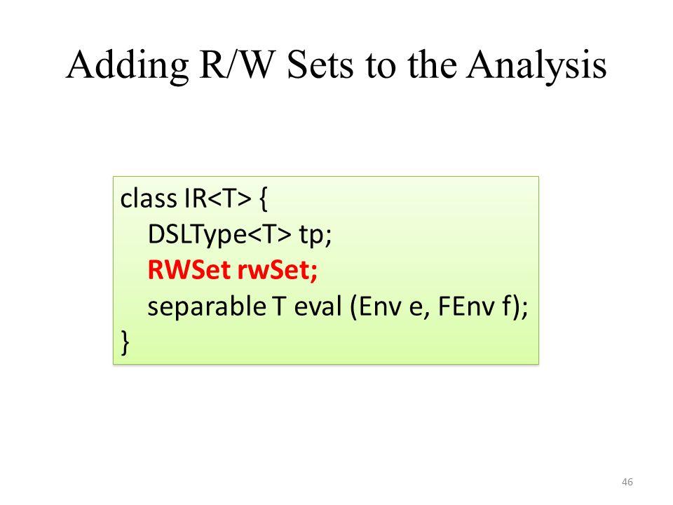 Adding R/W Sets to the Analysis 46 class IR { DSLType tp; RWSet rwSet; separable T eval (Env e, FEnv f); } class IR { DSLType tp; RWSet rwSet; separable T eval (Env e, FEnv f); }