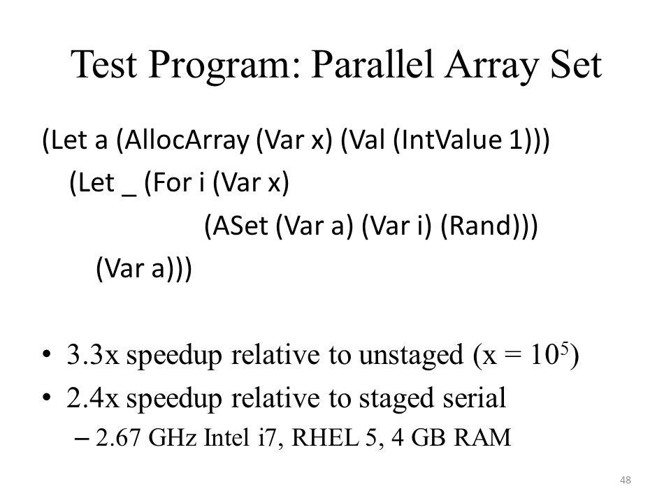 Test Program: Parallel Array Set (Let a (AllocArray (Var x) (Val (IntValue 1))) (Let _ (For i (Var x) (ASet (Var a) (Var i) (Rand))) (Var a))) 3.3x speedup relative to unstaged (x = 10 5 ) 2.4x speedup relative to staged serial – 2.67 GHz Intel i7, RHEL 5, 4 GB RAM 48