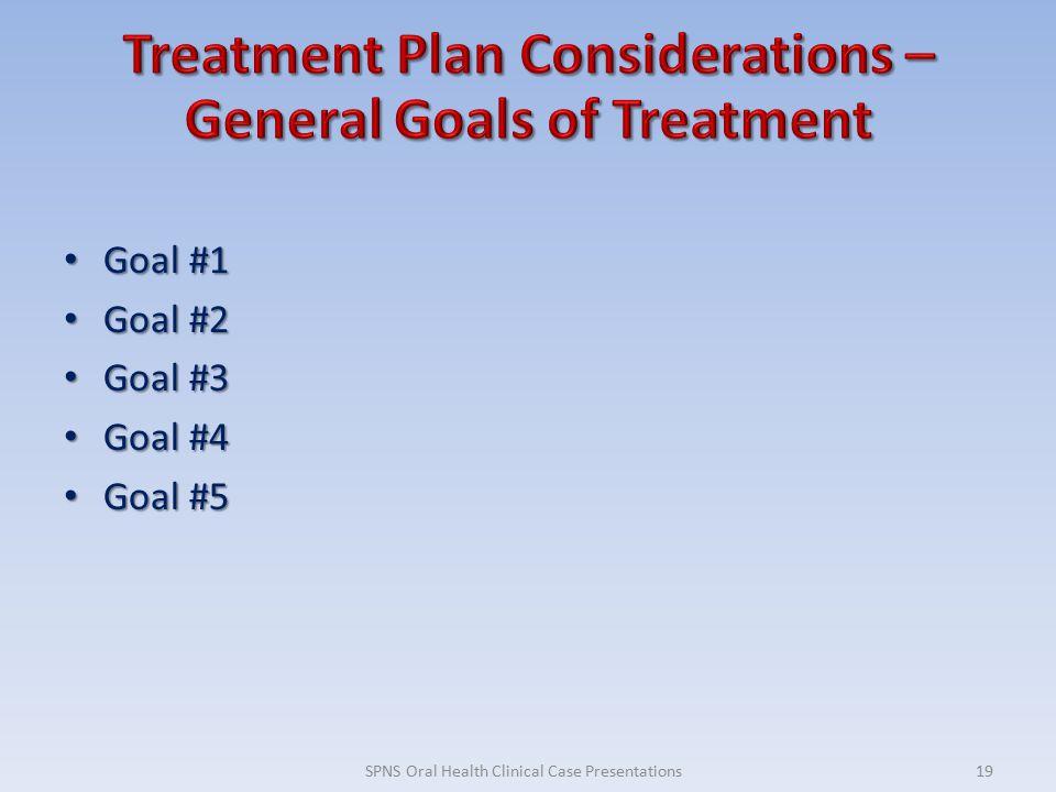 Goal #1 Goal #1 Goal #2 Goal #2 Goal #3 Goal #3 Goal #4 Goal #4 Goal #5 Goal #5 19SPNS Oral Health Clinical Case Presentations