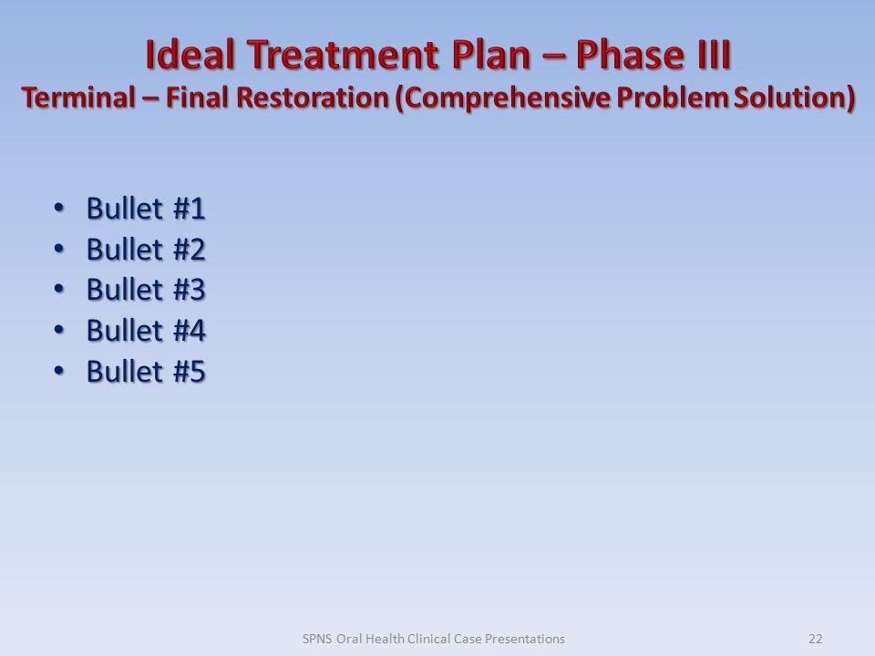 Bullet #1 Bullet #1 Bullet #2 Bullet #2 Bullet #3 Bullet #3 Bullet #4 Bullet #4 Bullet #5 Bullet #5 22SPNS Oral Health Clinical Case Presentations