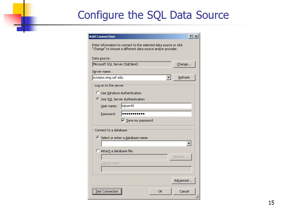 15 Configure the SQL Data Source