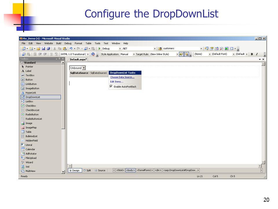 20 Configure the DropDownList