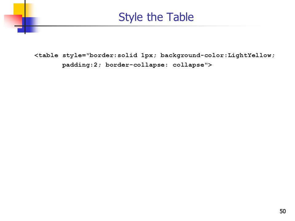 50 Style the Table <table style= border:solid 1px; background-color:LightYellow; padding:2; border-collapse: collapse >