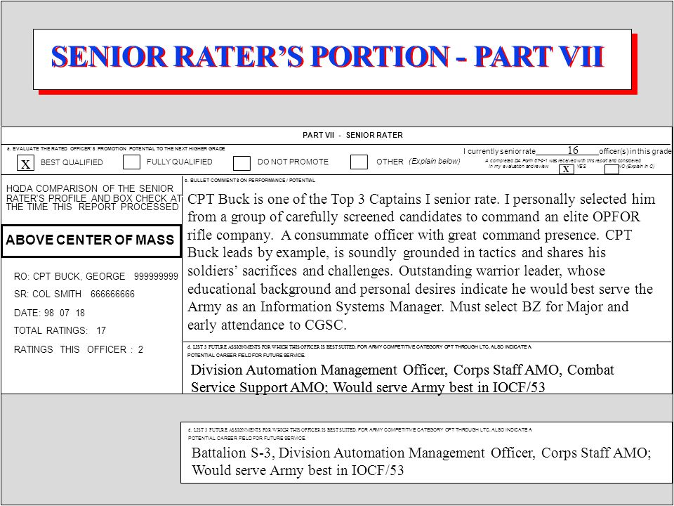 PART VII - SENIOR RATER c. BULLET COMMENTS ON PERFORMANCE / POTENTIAL a. EVALUATE THE RATED OFFICER'S PROMOTION POTENTIAL TO THE NEXT HIGHER GRADE BES