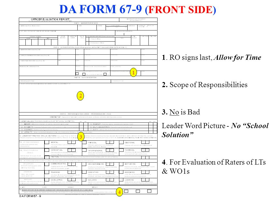 """1 3 2 4 DA FORM 67-9 (FRONT SIDE) 1. RO signs last, Allow for Time 2. Scope of Responsibilities 3. No is Bad Leader Word Picture - No """"School Solution"""