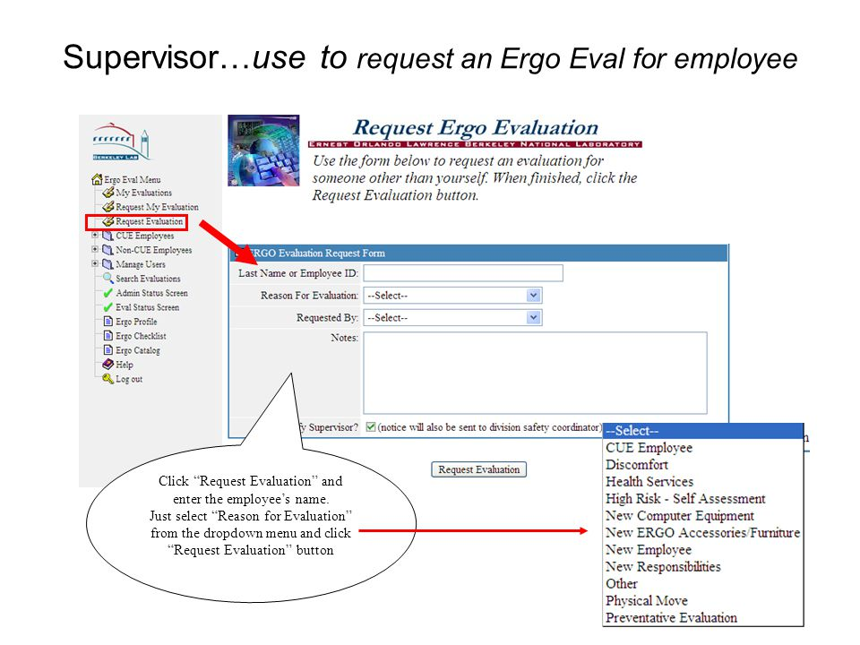 4 Supervisor … use to check on Evals of My Direct Reports Activity flags alert you when new Evals are in progress or when updates are entered by Evaluator Click here to search and open Evals of your employees White, Mike