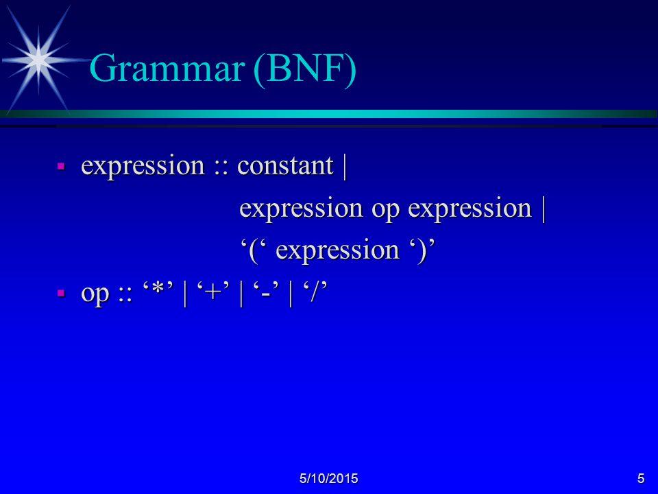 5/10/20155 Grammar (BNF)  expression :: constant | expression op expression | expression op expression | '(' expression ')' '(' expression ')'  op :: '*' | '+' | '-' | '/'