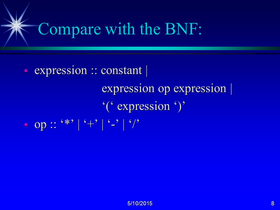 5/10/20158 Compare with the BNF:  expression :: constant | expression op expression | expression op expression | '(' expression ')' '(' expression ')'  op :: '*' | '+' | '-' | '/'