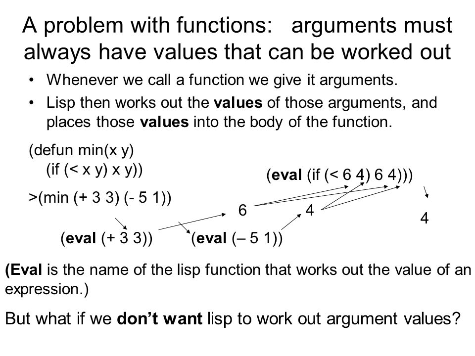 Suppose we want a function SET-DEF which takes a variable name and a value as arguments, and does the following: if this variable has a value, do not change it, but return the value; if it does not yet has a value, assign this value to it, and return that value > (set-def x 6) 6 > x 6 > (set-def x 12) 6 > x 6 However, trying to define SET-DEF as a simple DEFUN function will fail, since such a function will try to evaluate all its arguments and hence would evaluate the variable name we are trying to alter.