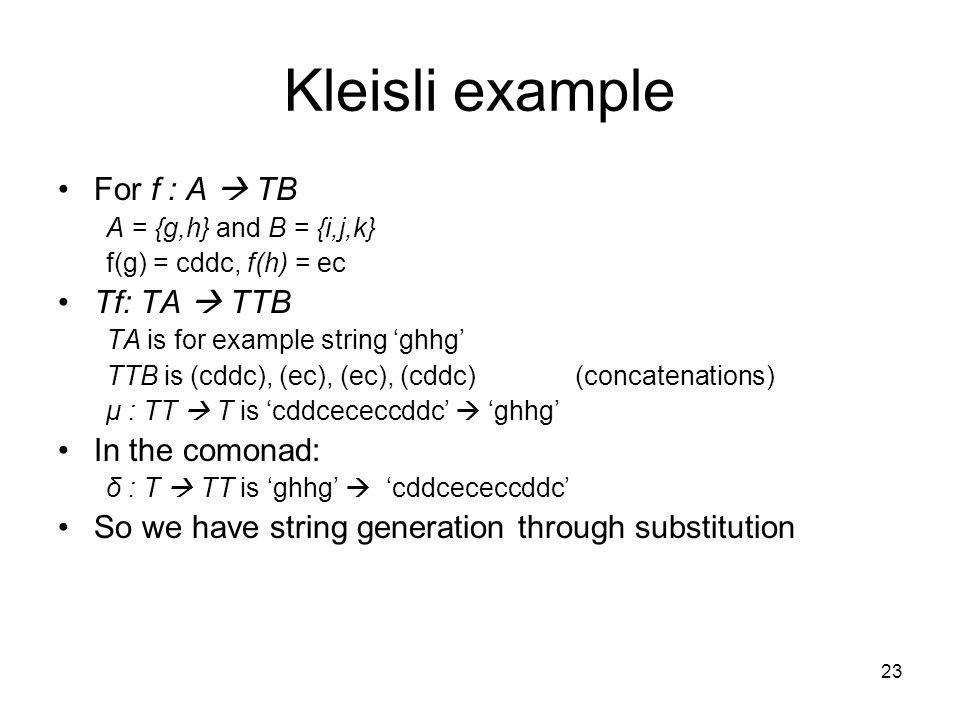 23 Kleisli example For f : A  TB A = {g,h} and B = {i,j,k} f(g) = cddc, f(h) = ec Tf: TA  TTB TA is for example string 'ghhg' TTB is (cddc), (ec), (