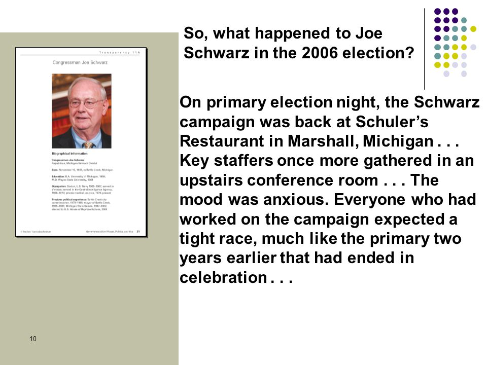 Social Studies Skill Builder 10 On primary election night, the Schwarz campaign was back at Schuler's Restaurant in Marshall, Michigan...