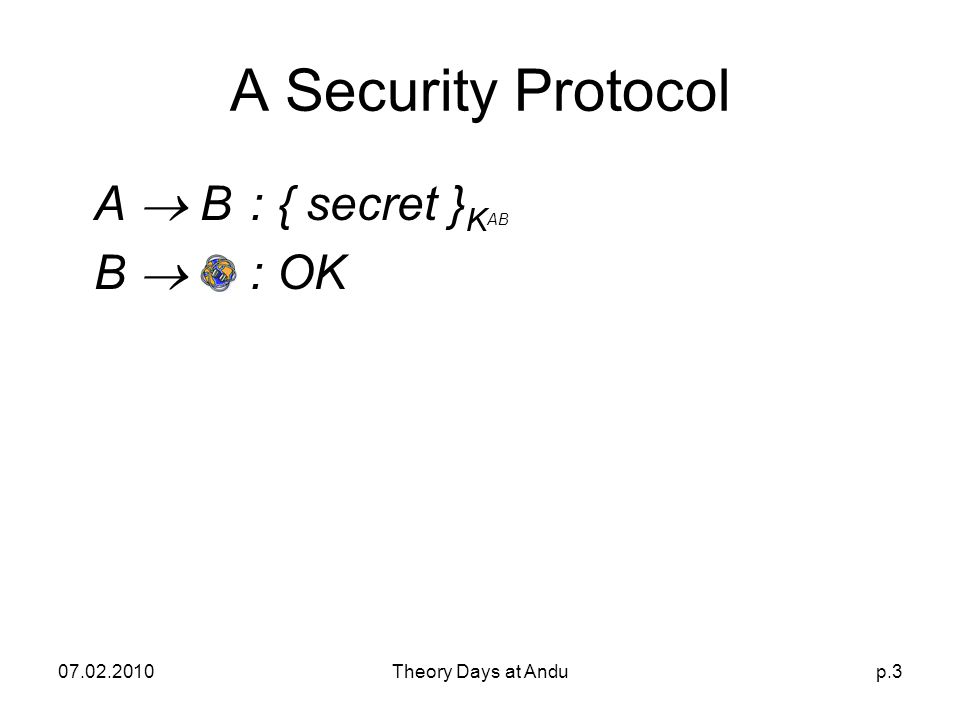 07.02.2010Theory Days at Andup.3 A Security Protocol A  B: { secret } K AB B  : OK