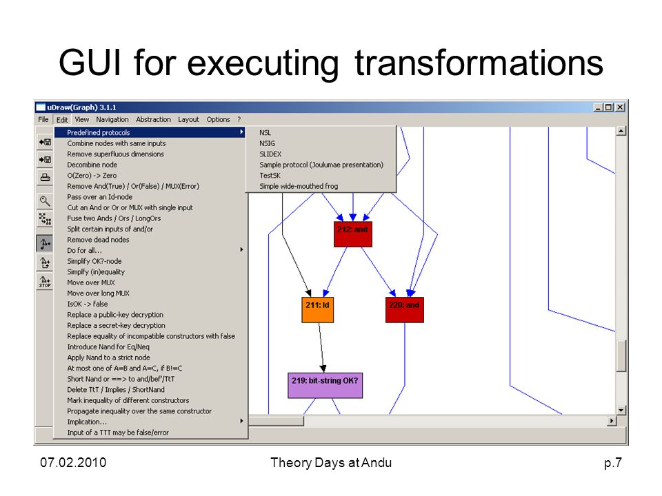 07.02.2010Theory Days at Andup.7 GUI for executing transformations