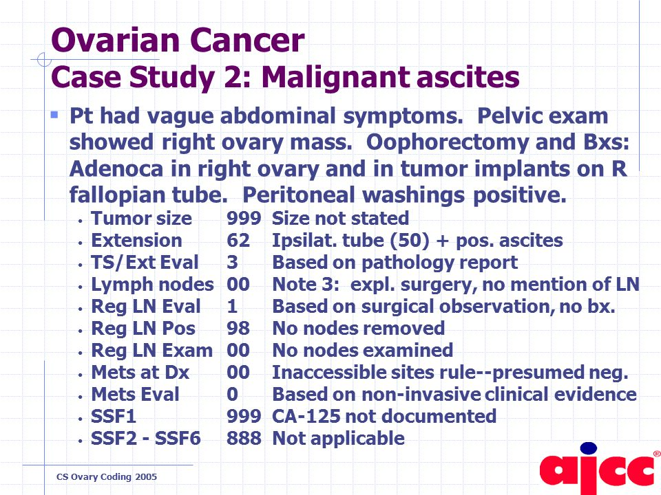 CS Ovary Coding 2005 Ovarian Cancer Case Study 2: Malignant ascites  Pt had vague abdominal symptoms.